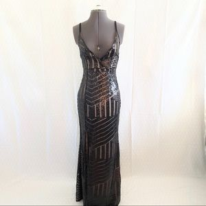 Dresses & Skirts - NWOT Black Art Deco Sequin Gown